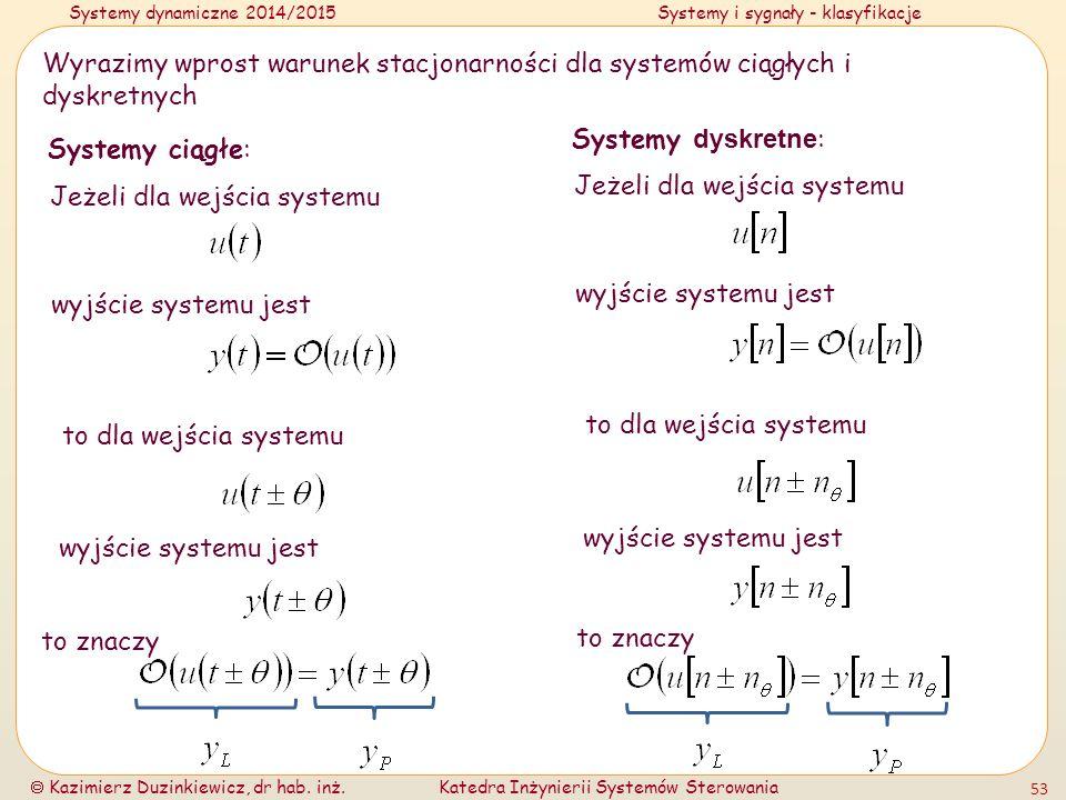 Wyrazimy wprost warunek stacjonarności dla systemów ciągłych i dyskretnych