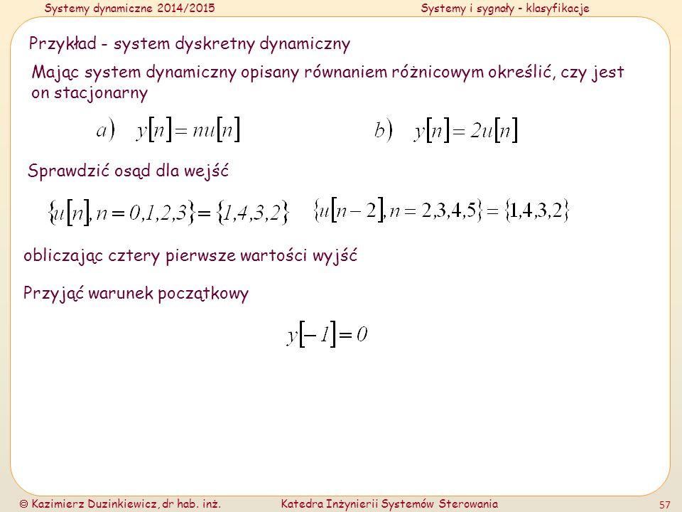 Przykład - system dyskretny dynamiczny