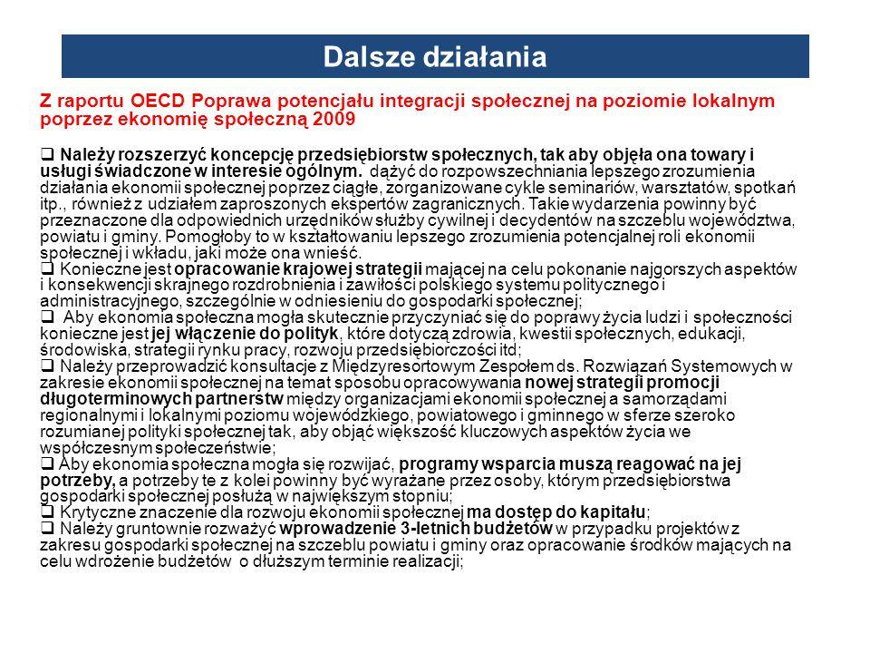 Dalsze działania Z raportu OECD Poprawa potencjału integracji społecznej na poziomie lokalnym poprzez ekonomię społeczną 2009.
