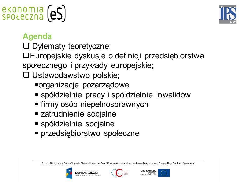 Agenda Dylematy teoretyczne; Europejskie dyskusje o definicji przedsiębiorstwa społecznego i przykłady europejskie;