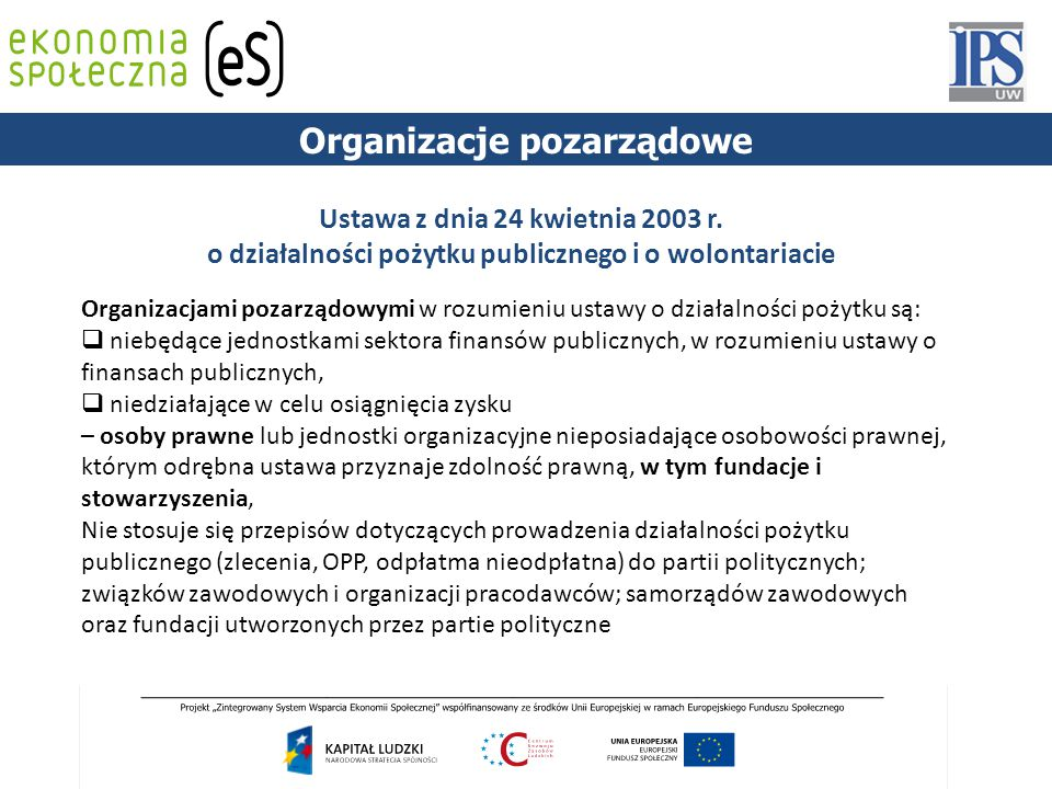 PODSTAWY PRAWNE Organizacje pozarządowe