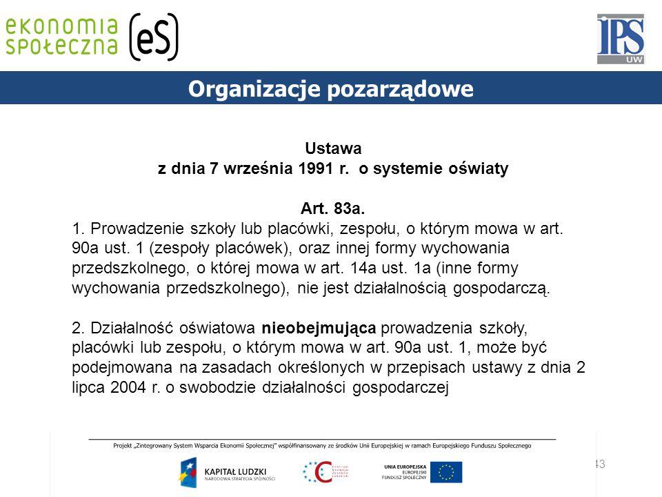 Organizacje pozarządowe z dnia 7 września 1991 r. o systemie oświaty