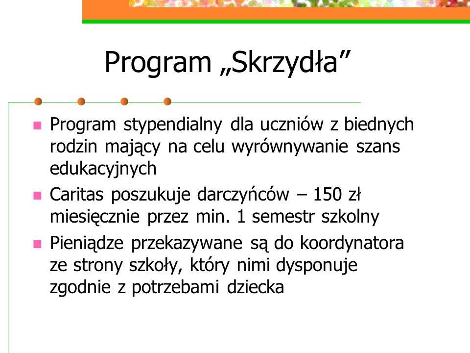 """Program """"Skrzydła Program stypendialny dla uczniów z biednych rodzin mający na celu wyrównywanie szans edukacyjnych."""