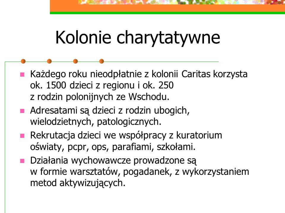 Kolonie charytatywne Każdego roku nieodpłatnie z kolonii Caritas korzysta ok. 1500 dzieci z regionu i ok. 250 z rodzin polonijnych ze Wschodu.