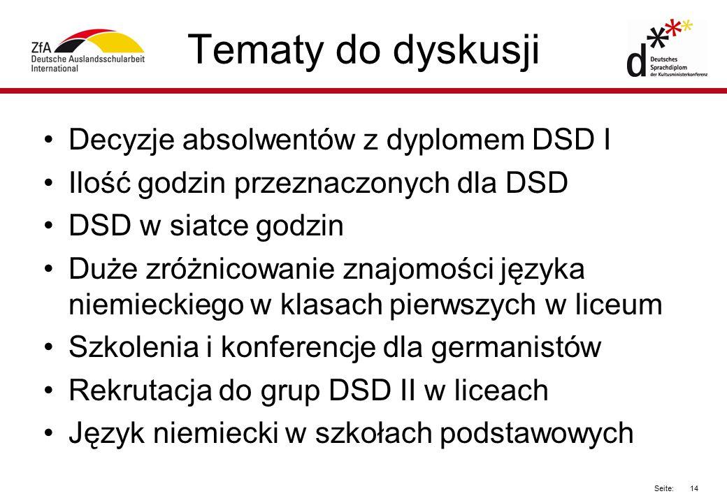 Tematy do dyskusji Decyzje absolwentów z dyplomem DSD I