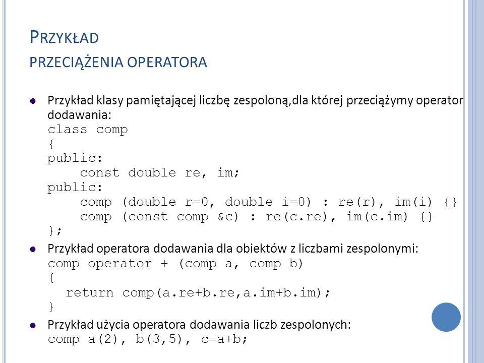 Przykład przeciążenia operatora