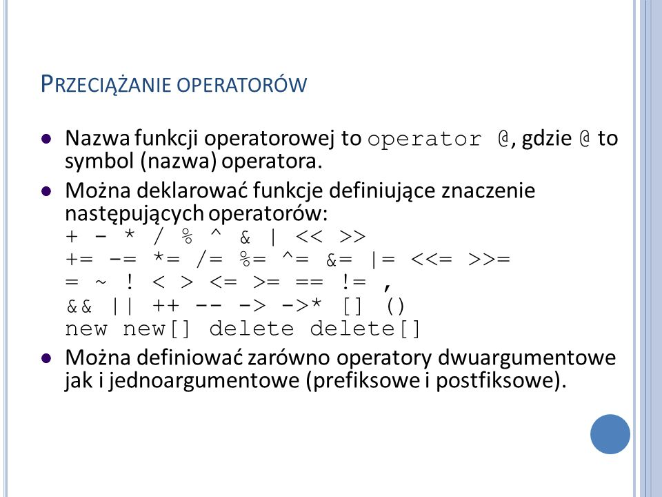 Przeciążanie operatorów