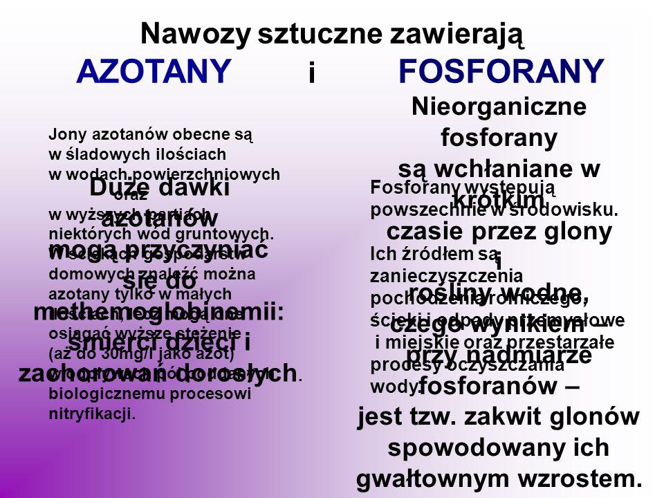 AZOTANY i FOSFORANY Nawozy sztuczne zawierają Nieorganiczne fosforany