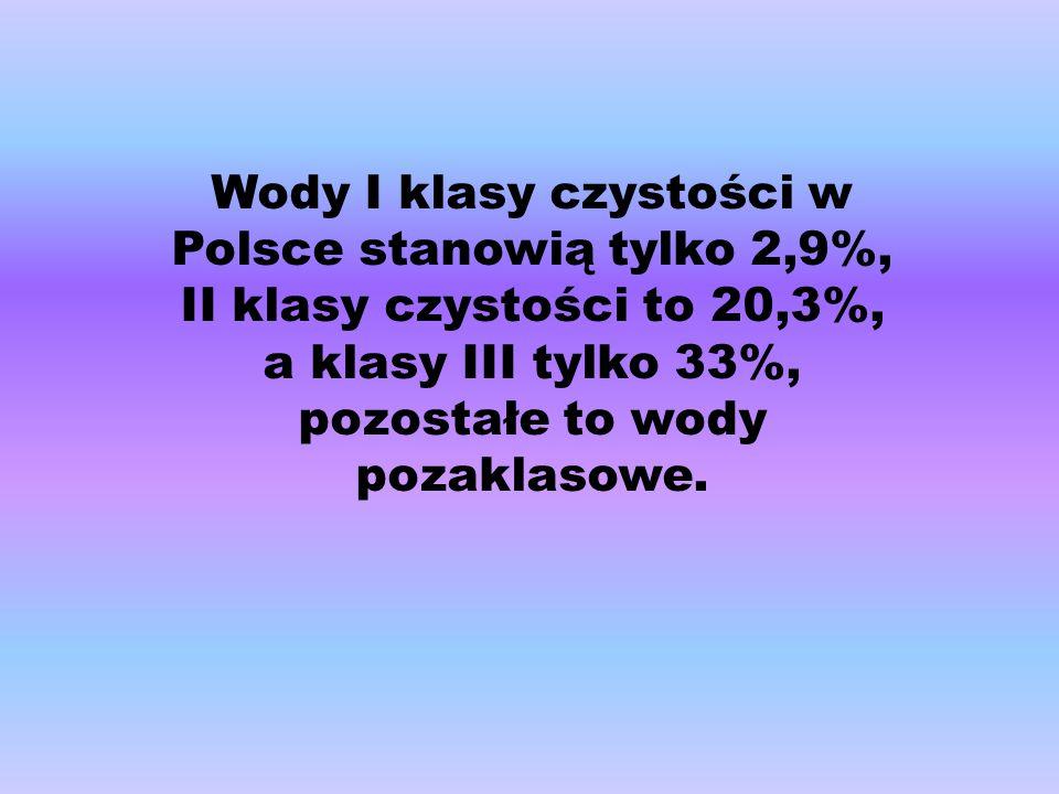 Wody I klasy czystości w Polsce stanowią tylko 2,9%,