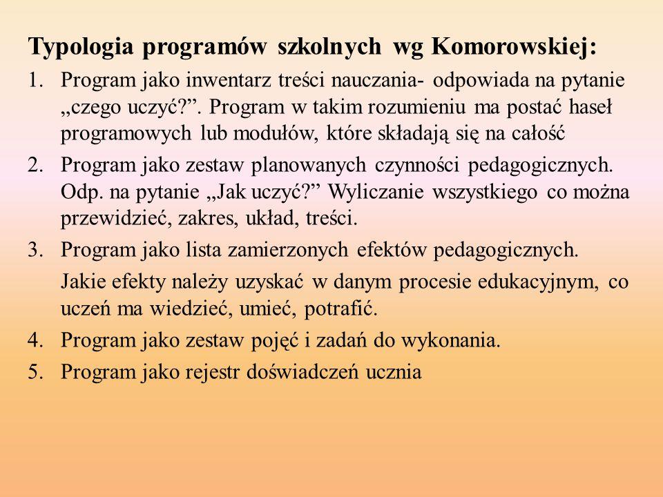 Typologia programów szkolnych wg Komorowskiej: