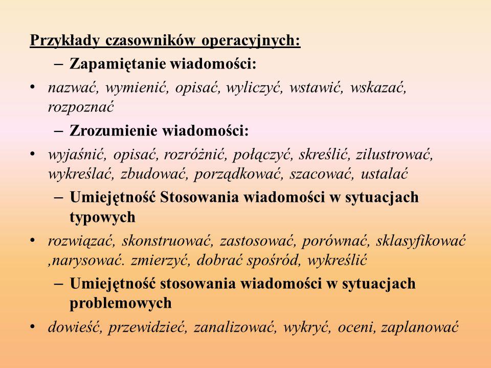 Przykłady czasowników operacyjnych: