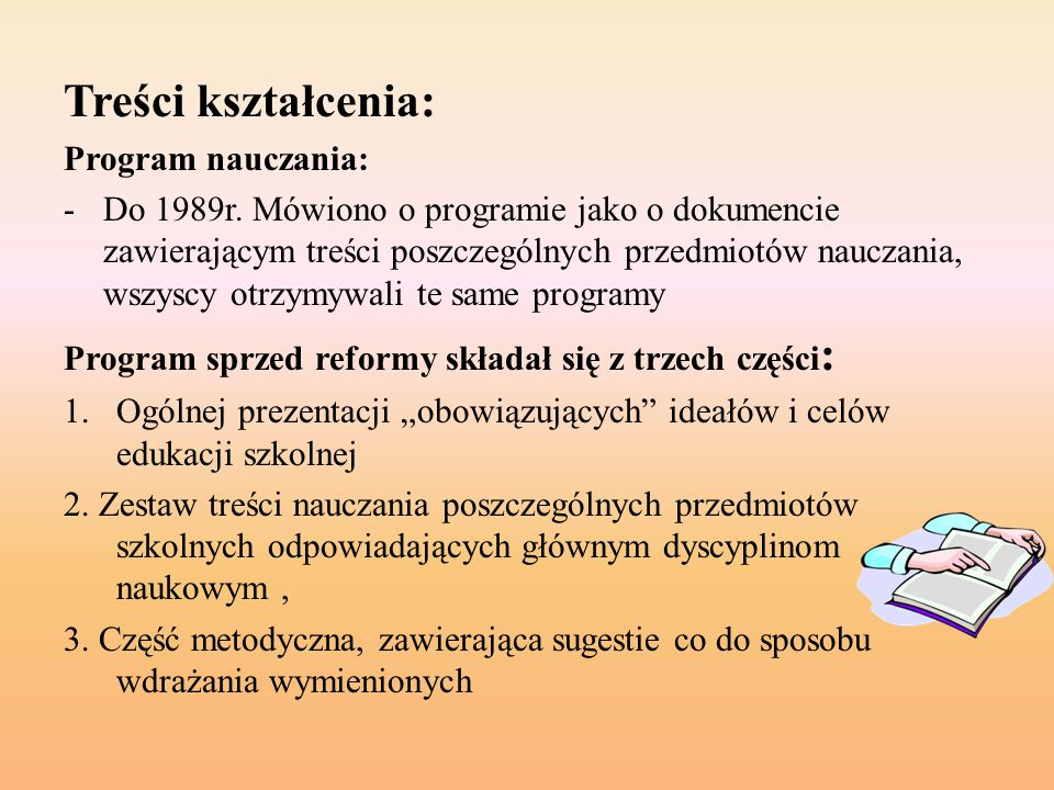Treści kształcenia: Program nauczania: