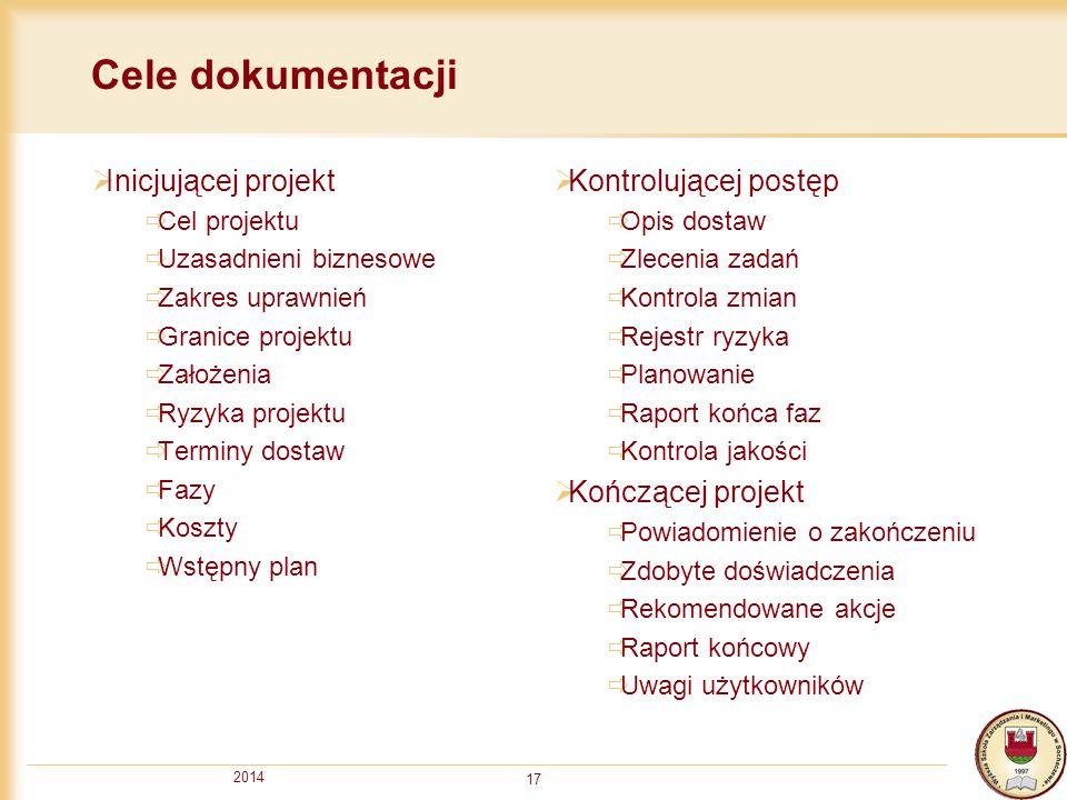 Cele dokumentacji Inicjującej projekt Kontrolującej postęp