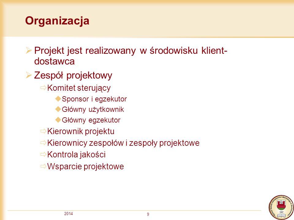 Organizacja Projekt jest realizowany w środowisku klient-dostawca
