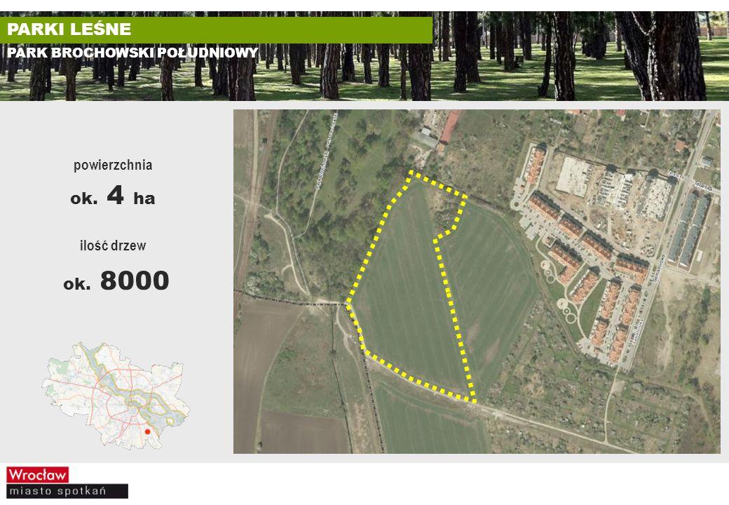 ok. 8000 PARKI LEŚNE ok. 4 ha powierzchnia ilość drzew