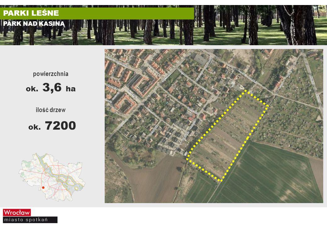 ok. 7200 PARKI LEŚNE ok. 3,6 ha powierzchnia ilość drzew