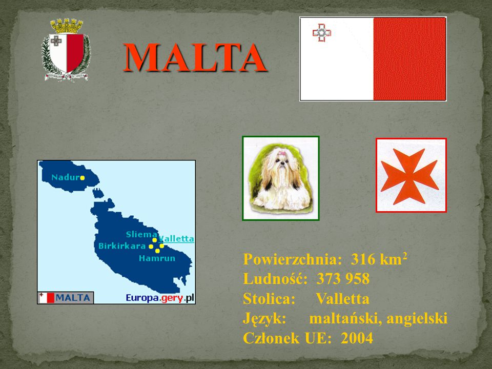 MALTA Powierzchnia: 316 km2 Ludność: 373 958 Stolica: Valletta