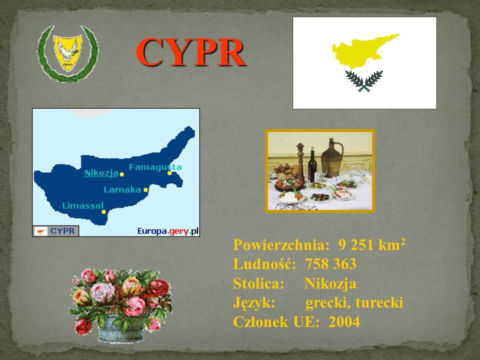CYPR Powierzchnia: 9 251 km2 Ludność: 758 363 Stolica: Nikozja