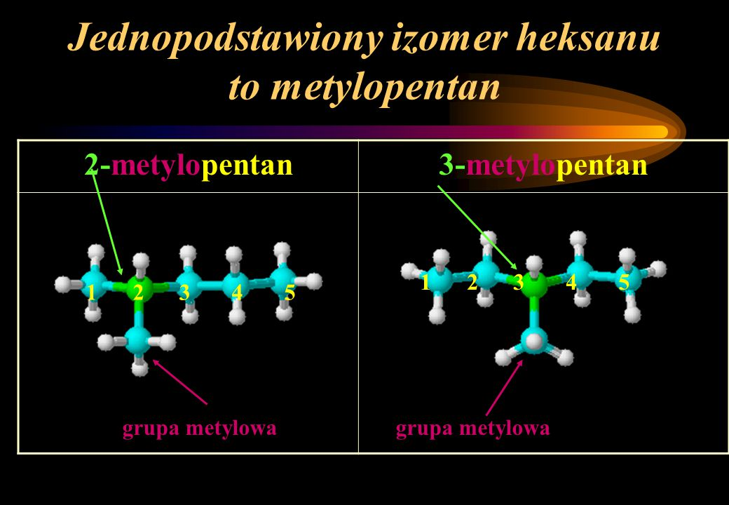 Jednopodstawiony izomer heksanu to metylopentan