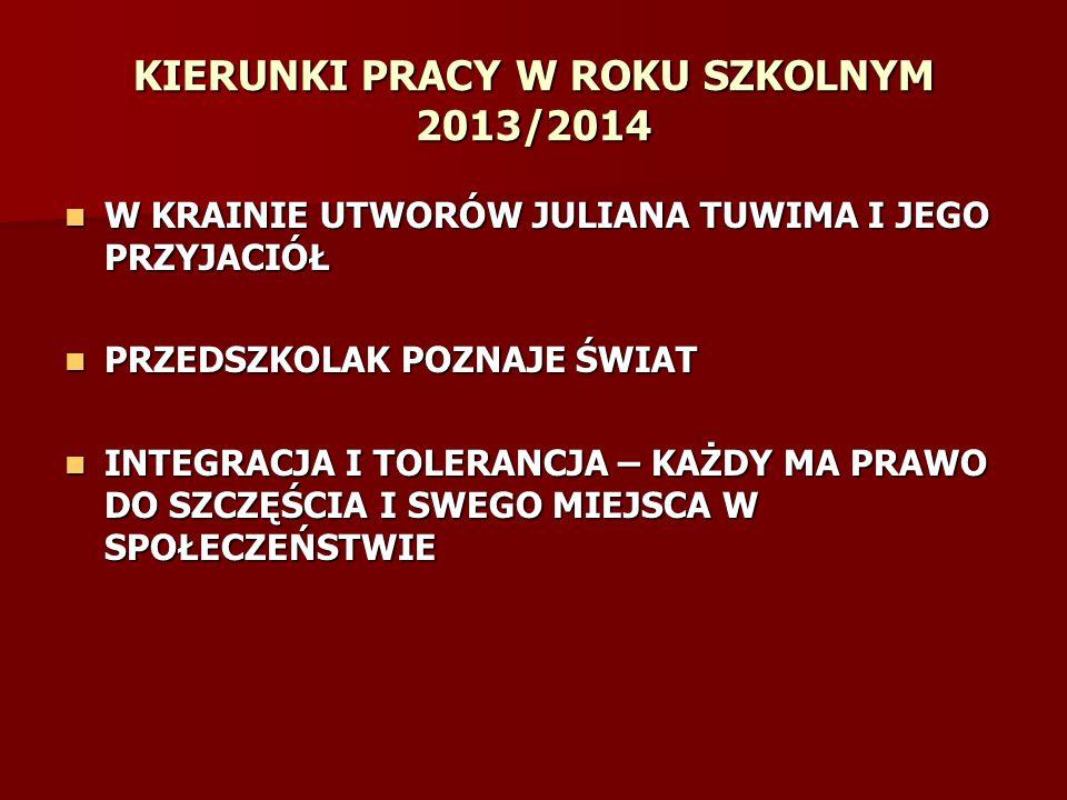 KIERUNKI PRACY W ROKU SZKOLNYM 2013/2014