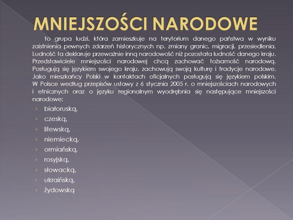 MNIEJSZOŚCI NARODOWE białoruską, czeską, litewską, niemiecką,