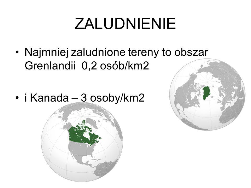 ZALUDNIENIE Najmniej zaludnione tereny to obszar Grenlandii 0,2 osób/km2 i Kanada – 3 osoby/km2