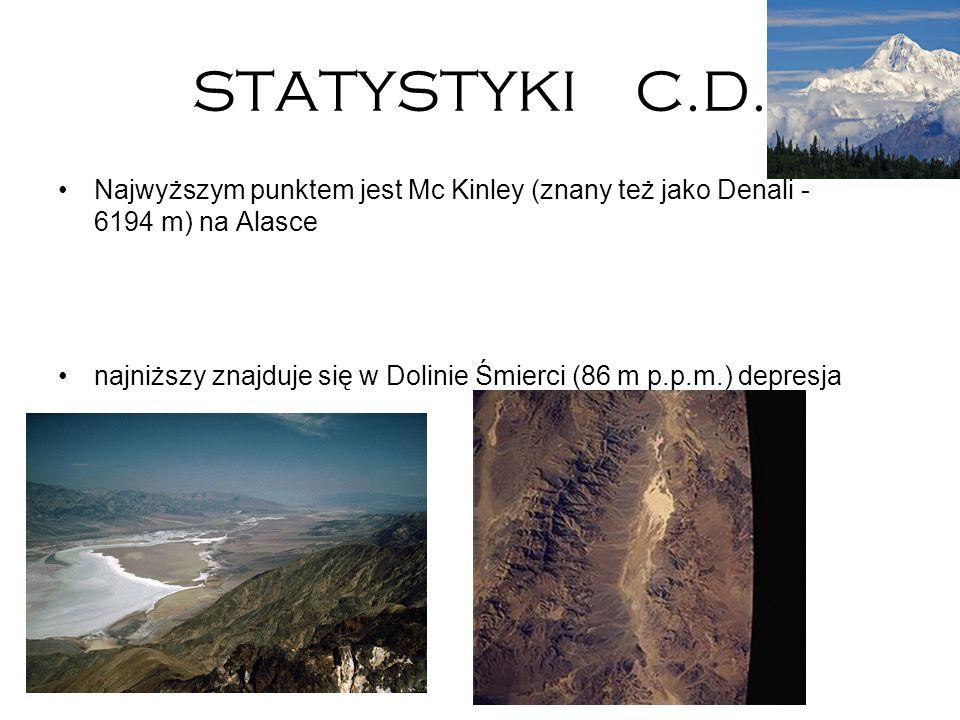 STATYSTYKI C.D. Najwyższym punktem jest Mc Kinley (znany też jako Denali - 6194 m) na Alasce.