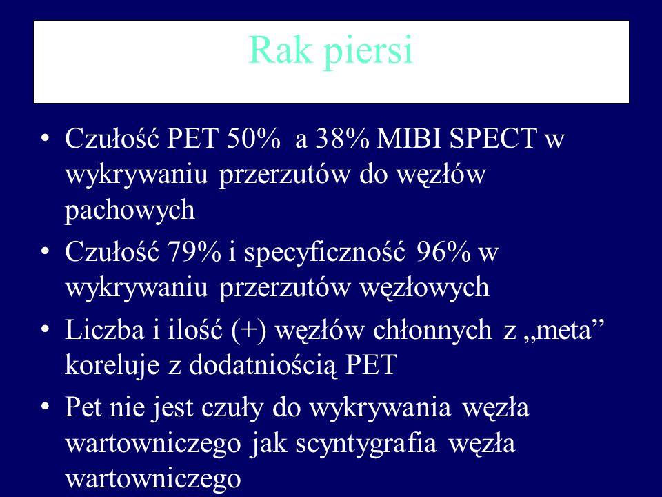 Rak piersi Czułość PET 50% a 38% MIBI SPECT w wykrywaniu przerzutów do węzłów pachowych.
