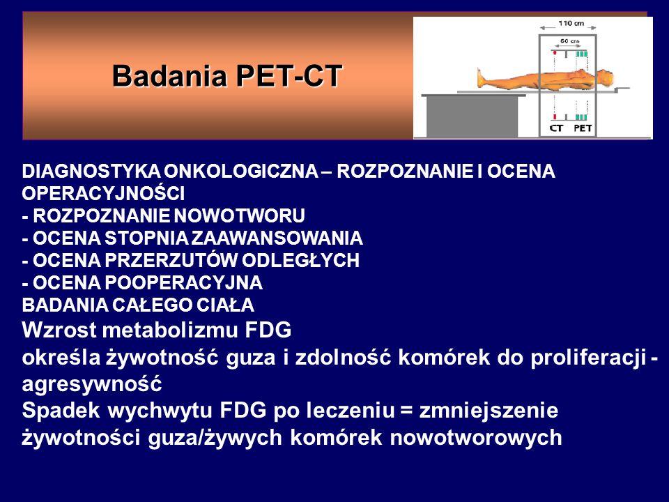 Badania PET-CT Wzrost metabolizmu FDG