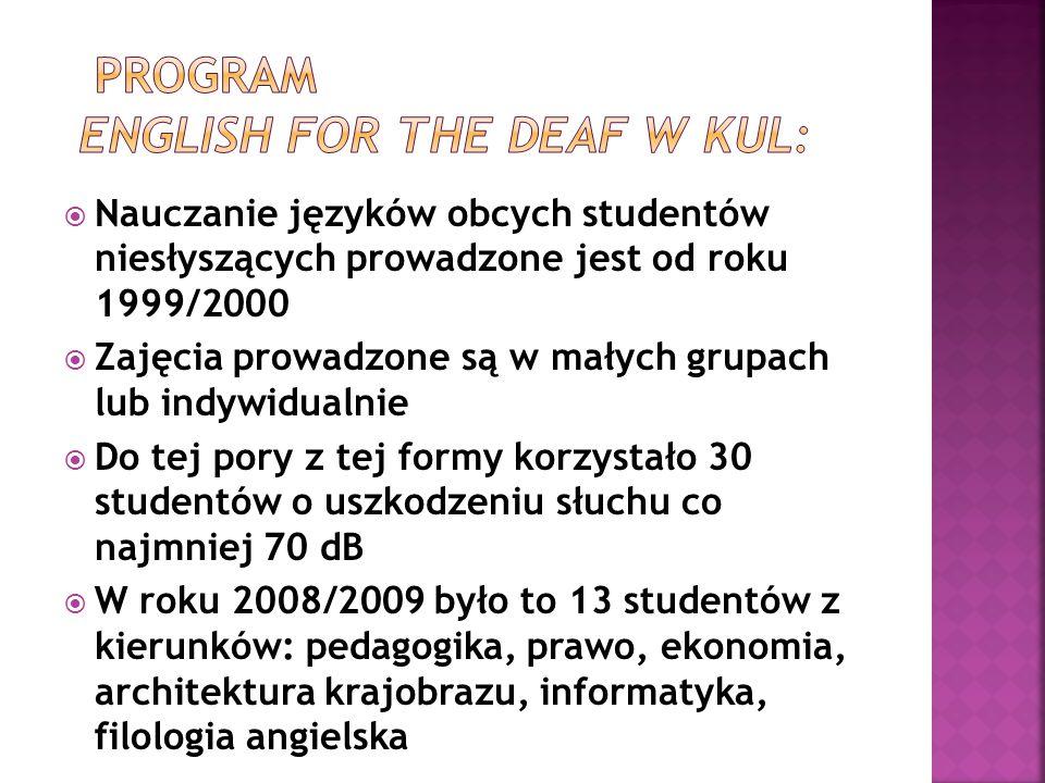 Program English for the Deaf w kul: