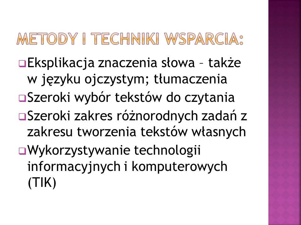 Metody i techniki wsparcia: