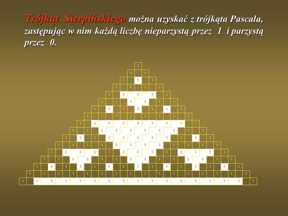 1 Trójkąt Sierpińskiego można uzyskać z trójkąta Pascala, zastępując w nim każdą liczbę nieparzystą przez 1 i parzystą przez 0.