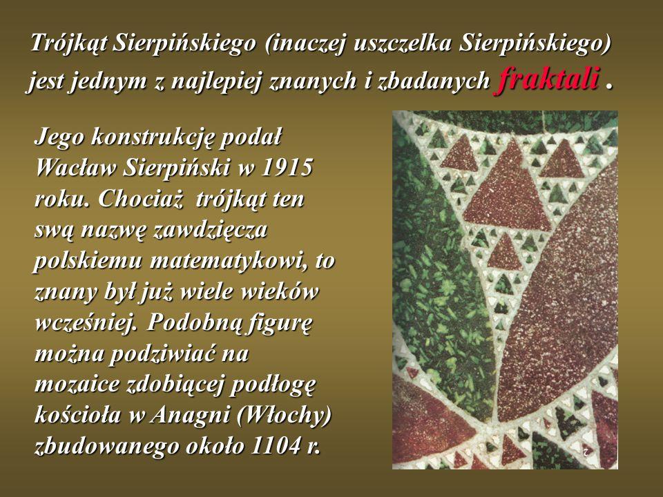 Trójkąt Sierpińskiego (inaczej uszczelka Sierpińskiego) jest jednym z najlepiej znanych i zbadanych fraktali .