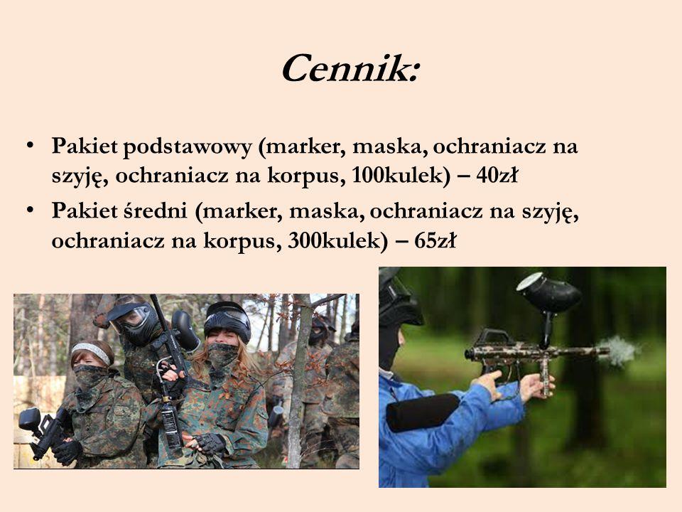 Cennik: Pakiet podstawowy (marker, maska, ochraniacz na szyję, ochraniacz na korpus, 100kulek) – 40zł.