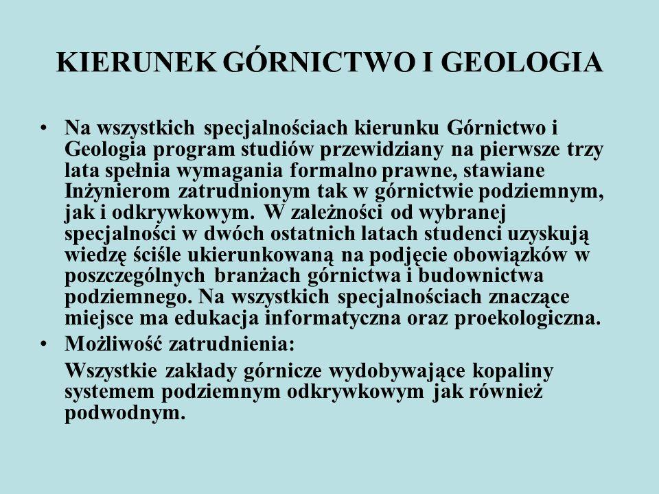 KIERUNEK GÓRNICTWO I GEOLOGIA
