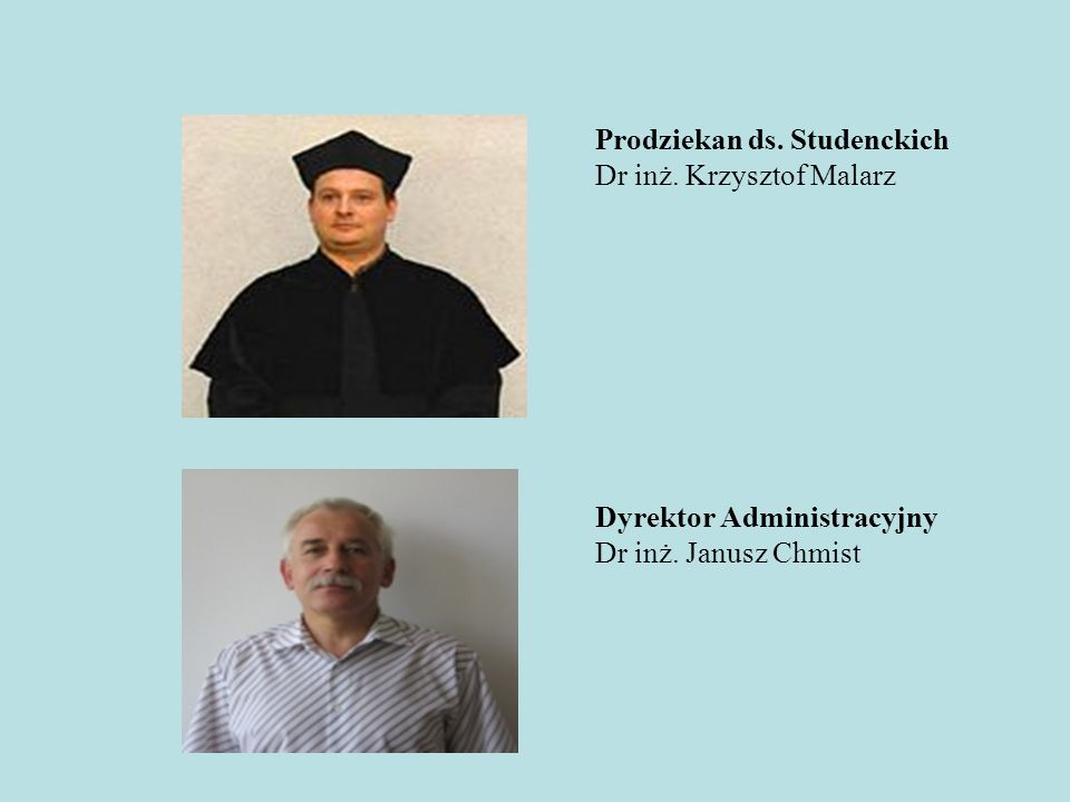 Prodziekan ds. Studenckich Dr inż. Krzysztof Malarz