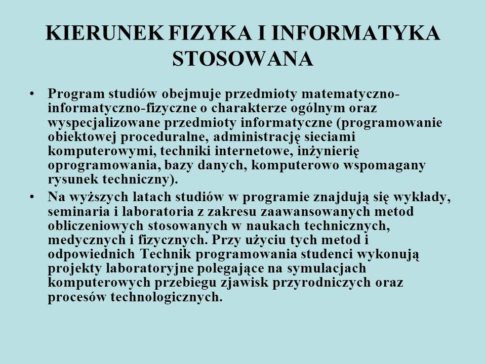 KIERUNEK FIZYKA I INFORMATYKA STOSOWANA