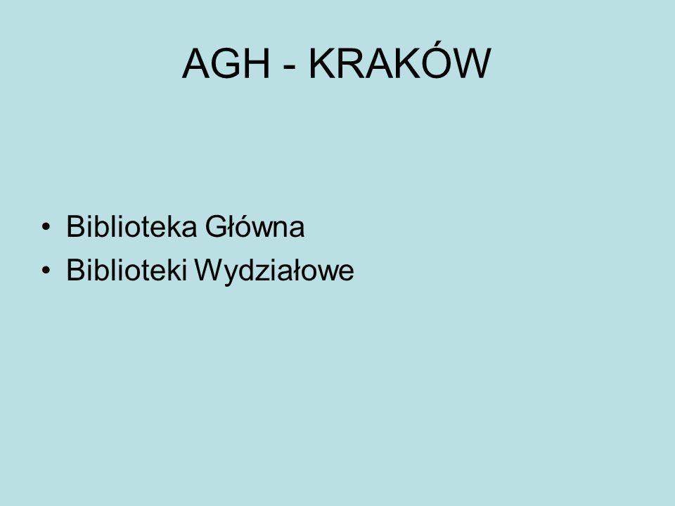 AGH - KRAKÓW Biblioteka Główna Biblioteki Wydziałowe