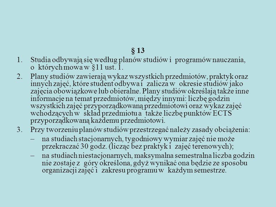 § 13 Studia odbywają się według planów studiów i programów nauczania, o których mowa w §11 ust. 1.