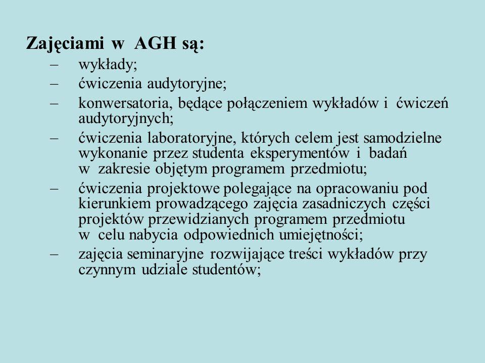 Zajęciami w AGH są: wykłady; ćwiczenia audytoryjne;