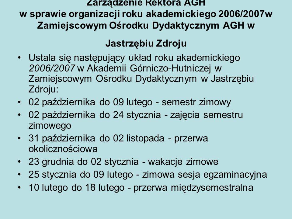 Zarządzenie Rektora AGH w sprawie organizacji roku akademickiego 2006/2007w Zamiejscowym Ośrodku Dydaktycznym AGH w Jastrzębiu Zdroju