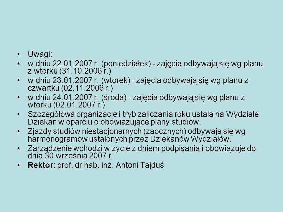 Uwagi: w dniu 22.01.2007 r. (poniedziałek) - zajęcia odbywają się wg planu z wtorku (31.10.2006 r.)