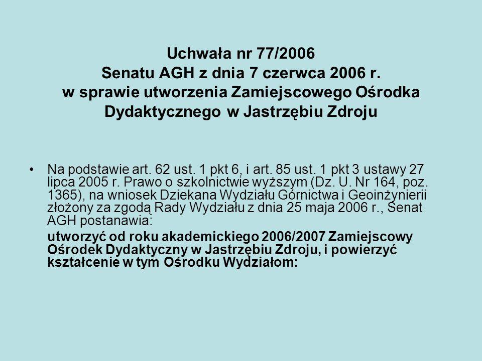 Uchwała nr 77/2006 Senatu AGH z dnia 7 czerwca 2006 r