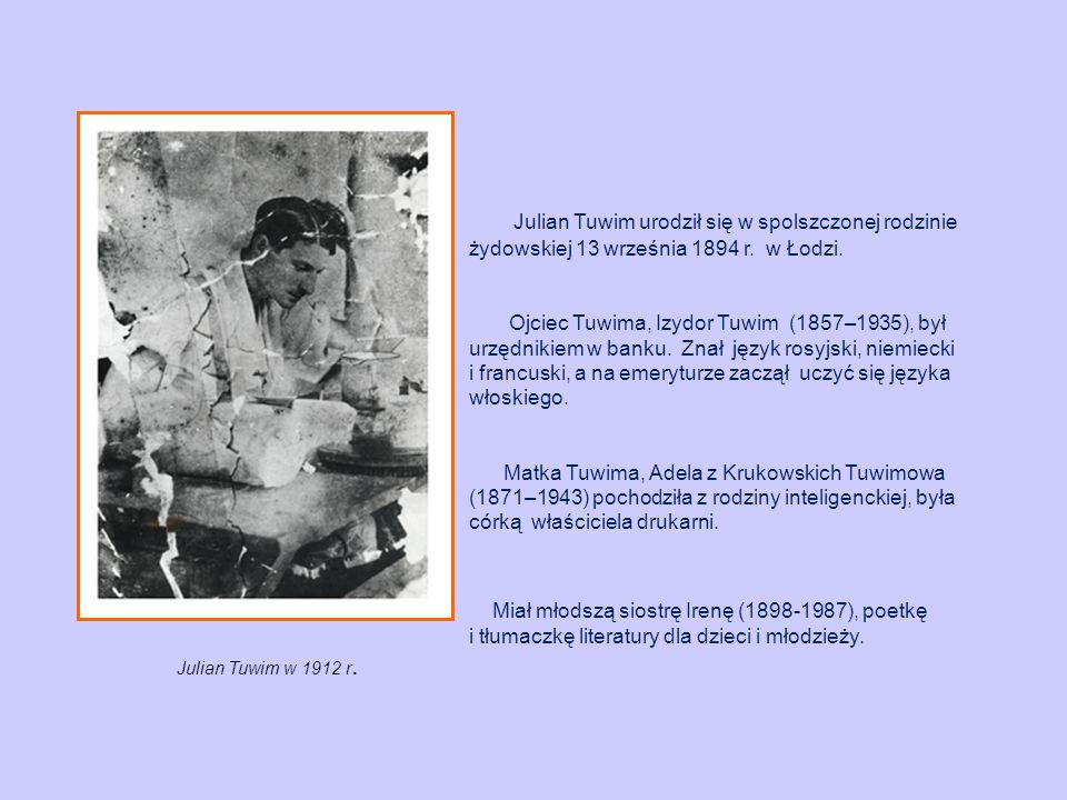 Julian Tuwim urodził się w spolszczonej rodzinie żydowskiej 13 września 1894 r. w Łodzi.