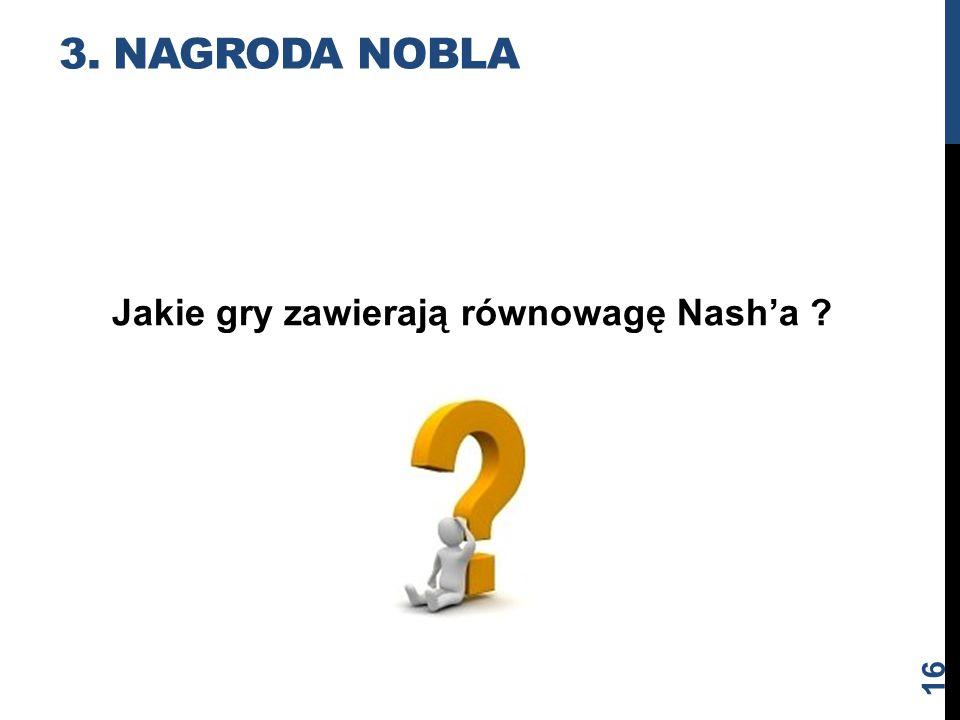 3. Nagroda nobla Jakie gry zawierają równowagę Nash'a