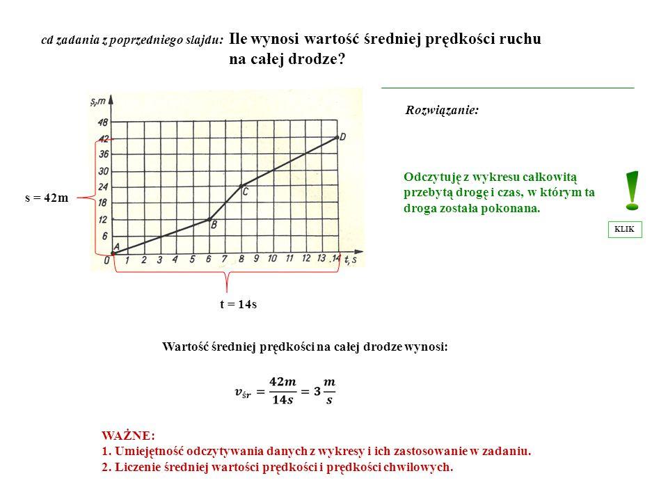 cd zadania z poprzedniego slajdu: Ile wynosi wartość średniej prędkości ruchu na całej drodze