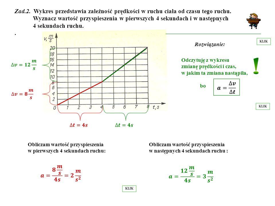 Zad.2. Wykres przedstawia zależność prędkości w ruchu ciała od czasu tego ruchu. Wyznacz wartość przyspieszenia w pierwszych 4 sekundach i w następnych 4 sekundach ruchu. .