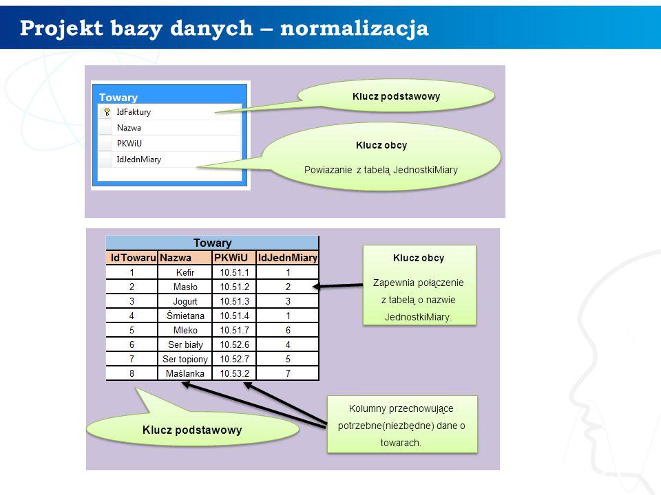 Projekt bazy danych – normalizacja