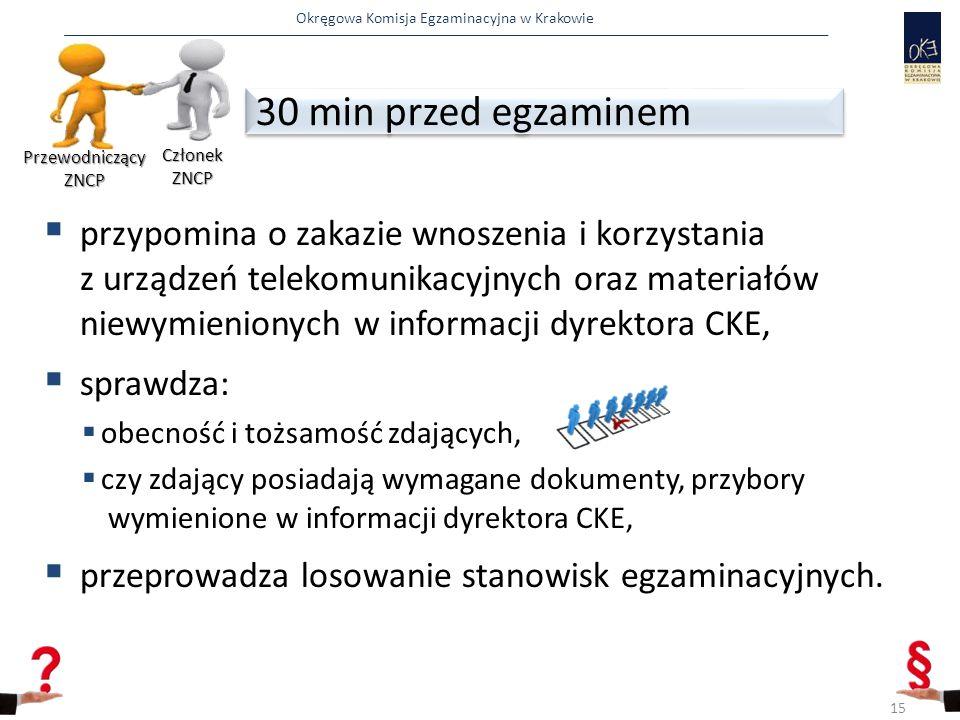 Przewodniczący ZNCP Członek ZNCP. 30 min przed egzaminem.
