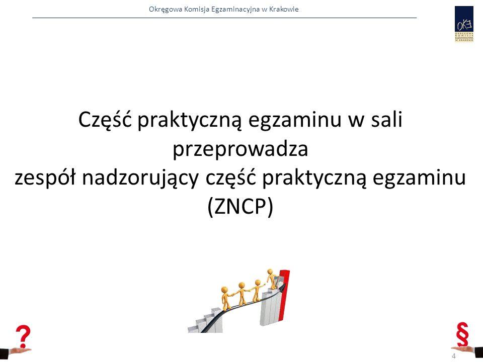 Część praktyczną egzaminu w sali przeprowadza zespół nadzorujący część praktyczną egzaminu (ZNCP)
